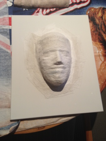 Transferring my face to the canvas.